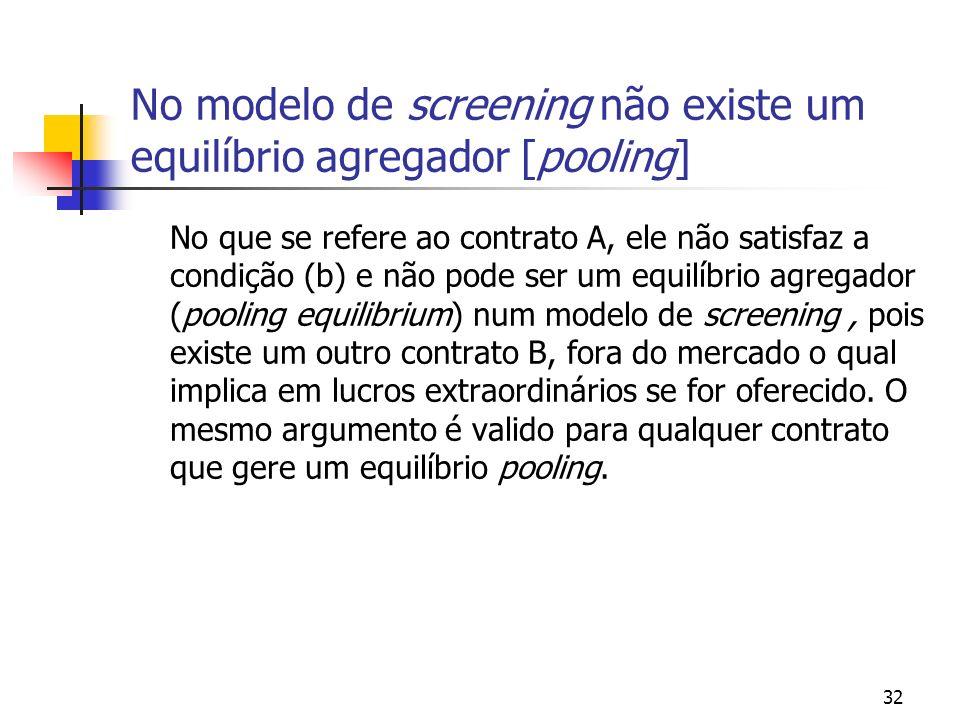 No modelo de screening não existe um equilíbrio agregador [pooling]